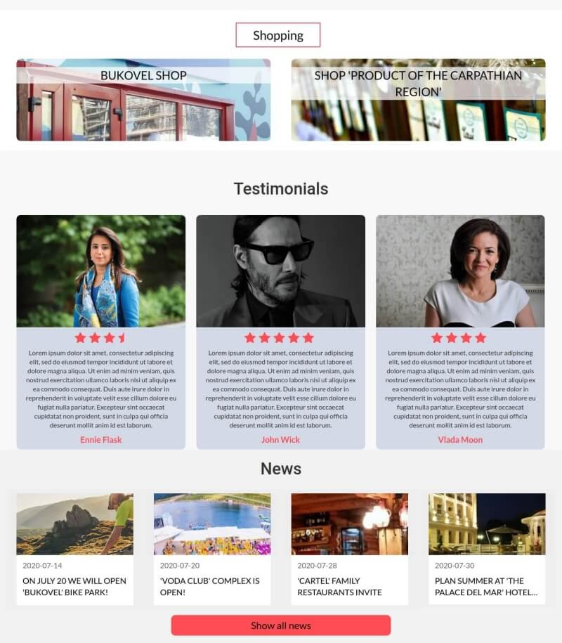 Hotel Booking Joomla template, section testimonials and news for create hotel booking website