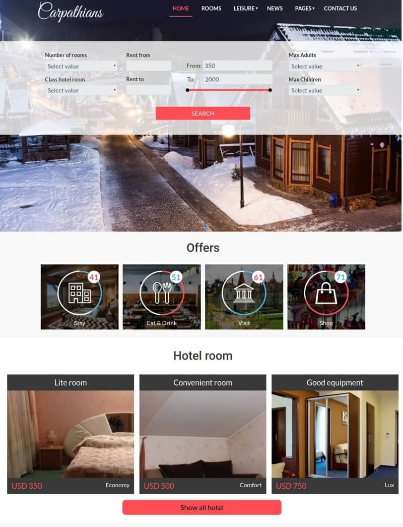 Resort & Hotel booking Joomla template with slider and search module for create hotel booking website
