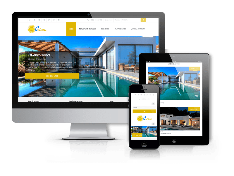 OS Crimea, Joomla 3.8.x real estate template