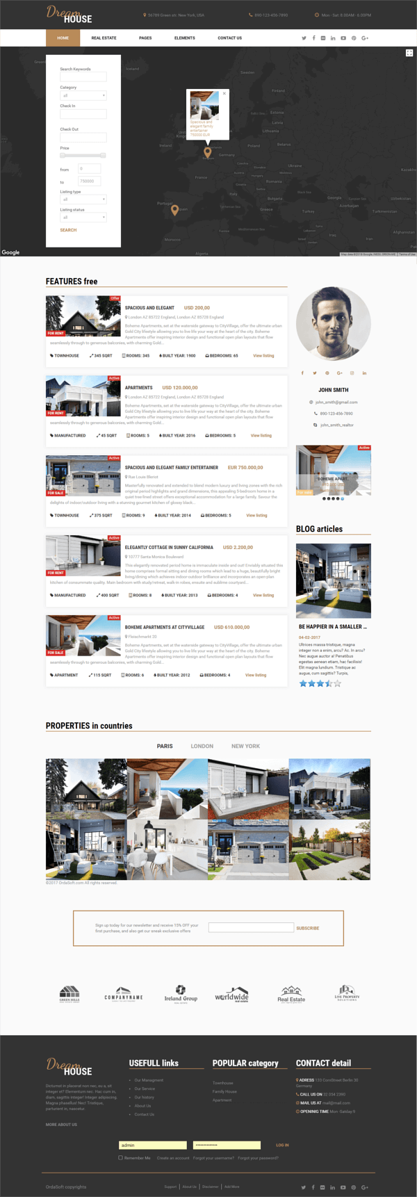 Free real estate Joomla template Dream House, full screen