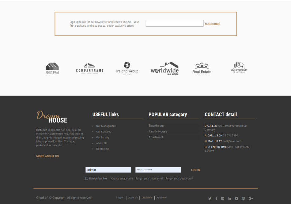 real estate joomla template free, footer menu