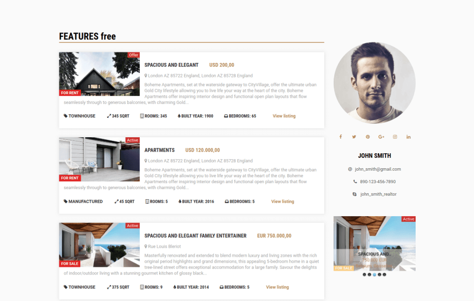 real estate website template free, featured houses
