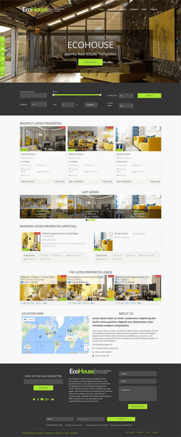 Eco House - Joomla Real Estate template, full screen