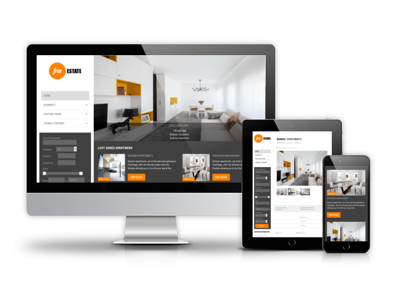 Free Estate Free Premium Real Estate Joomla Template - Membership website templates free
