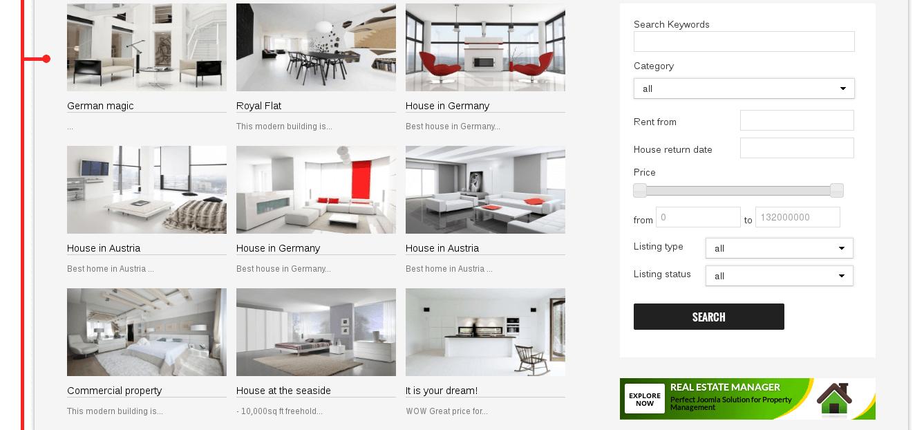 ... Website Template Featured Properties Section Of Joomla Real Estate  Template ...