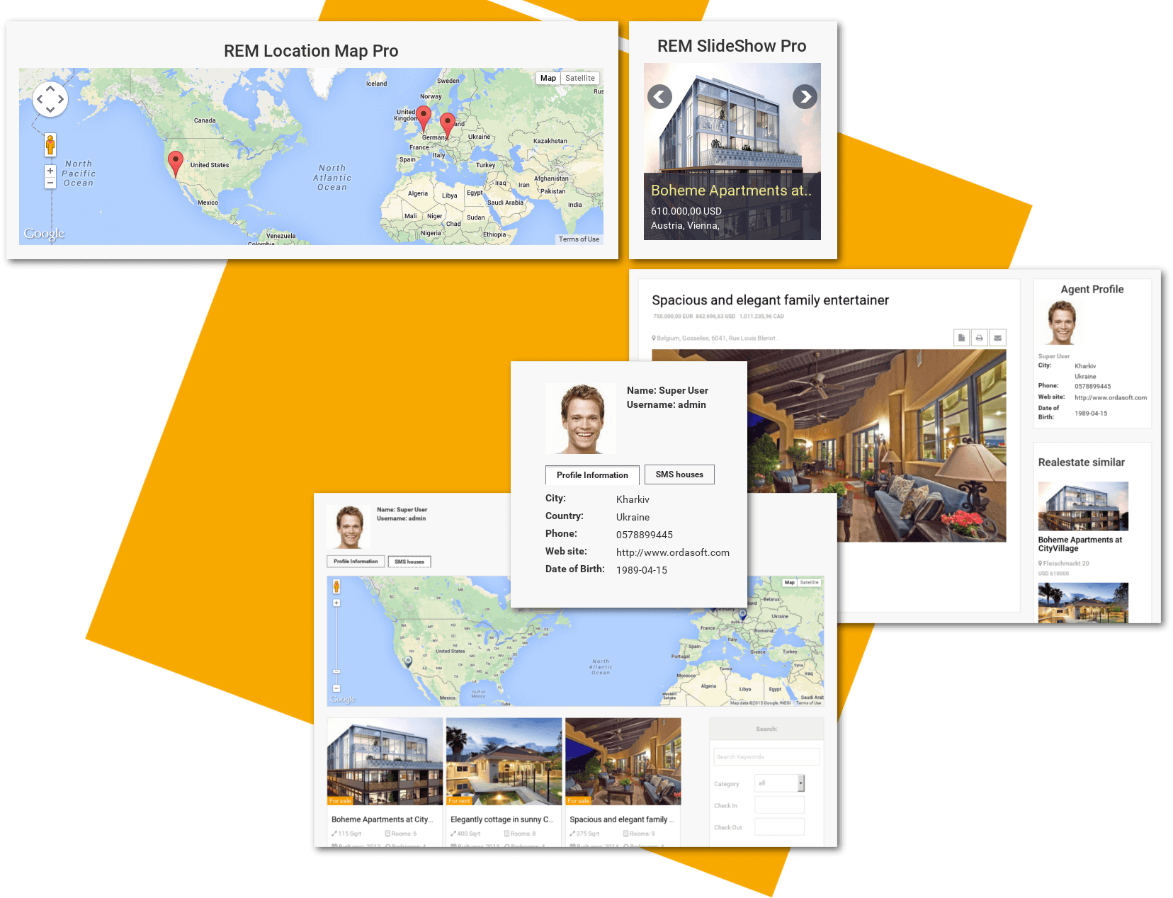 RealEstateManager Location Map & SlideShow of Classic Real Estate Joomla template