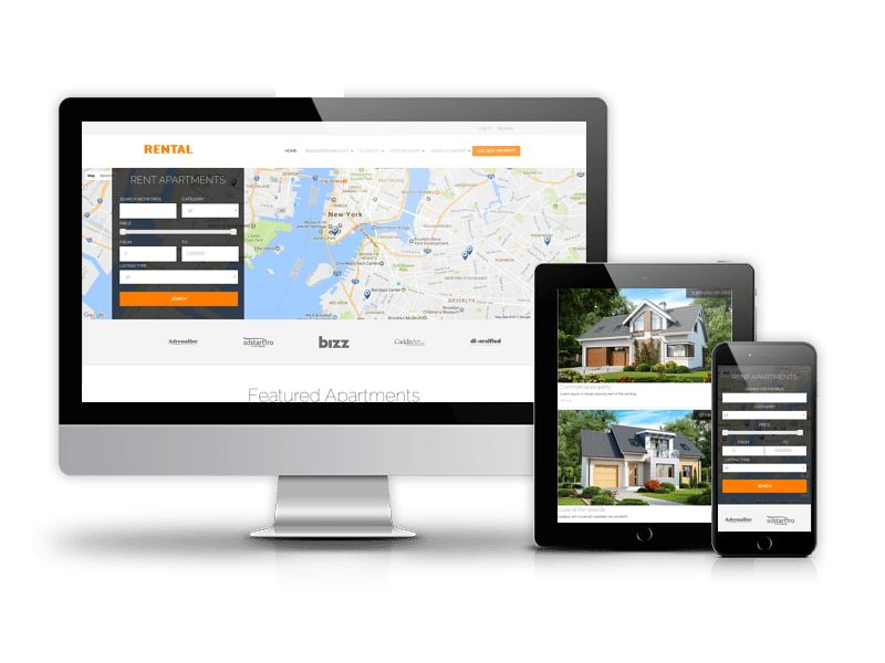Rental - modern real estate Joomla template
