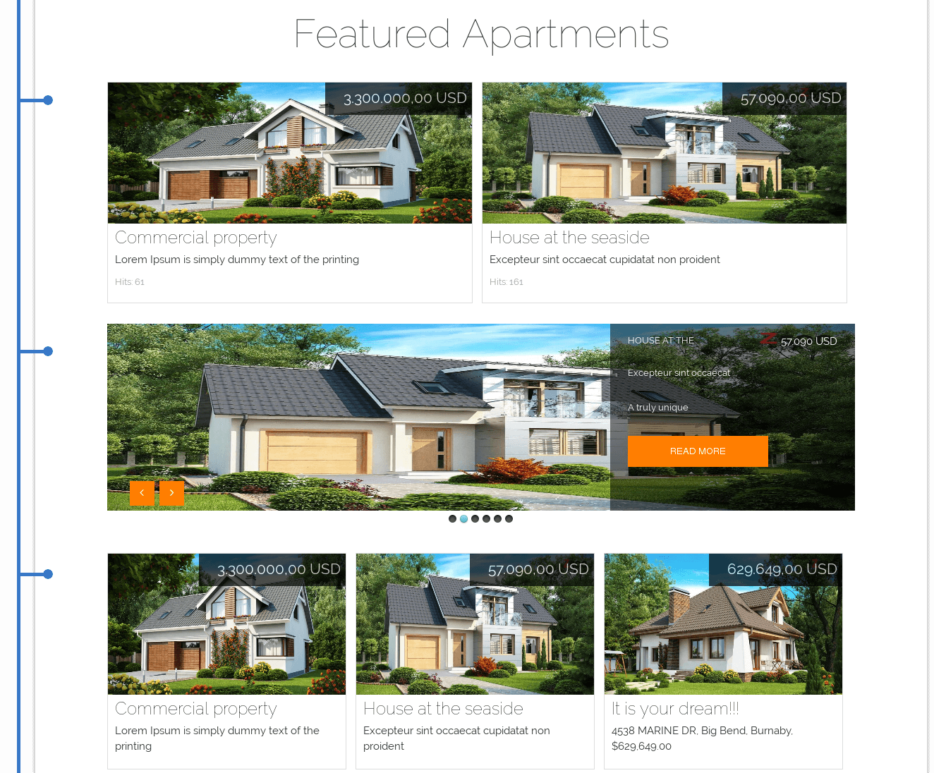 Featured properties section of Joomla real estate template
