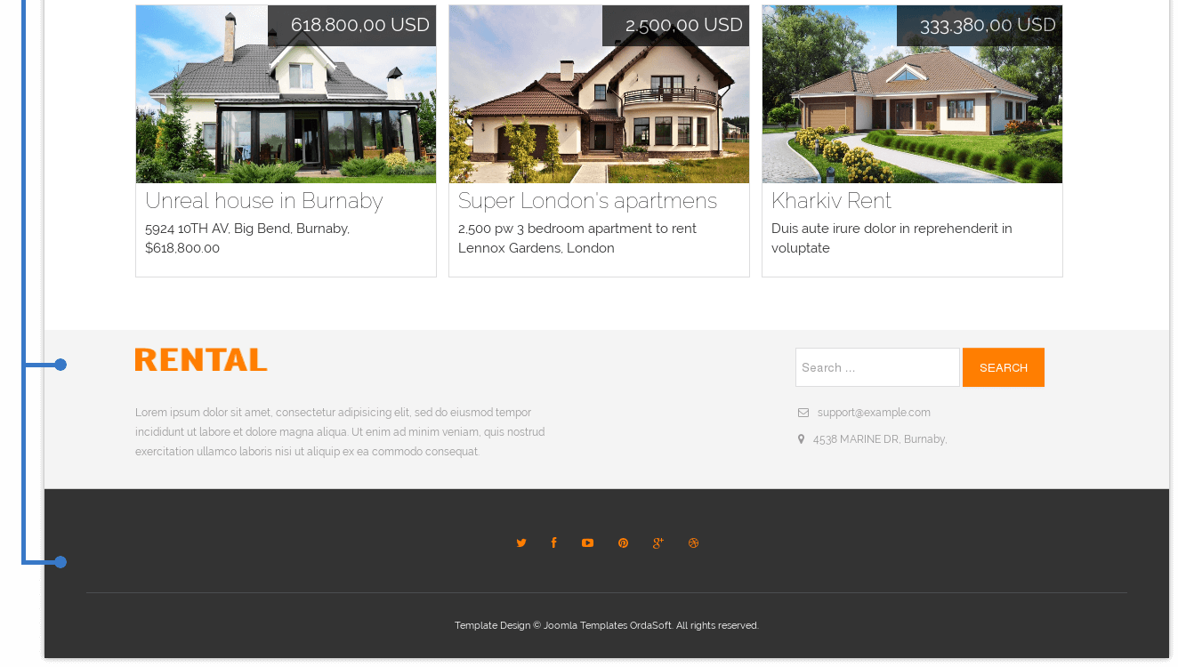 Video section and footer of Joomla 3.5 real estate template