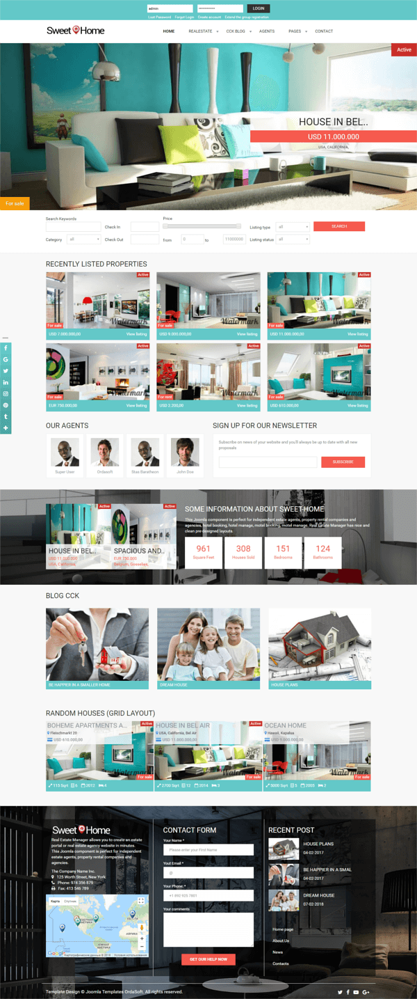 Sweet Home - Real Estate Joomla Template, full screen