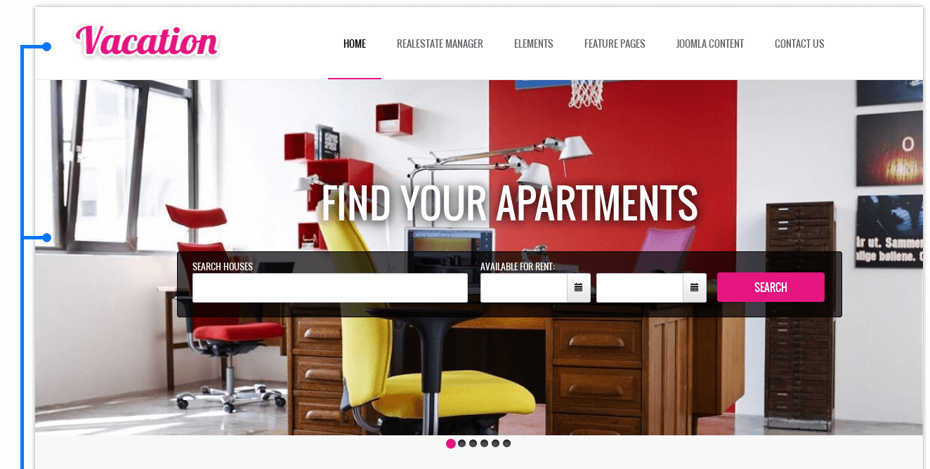 Slider with searchof Hotel Joomla template Vacation