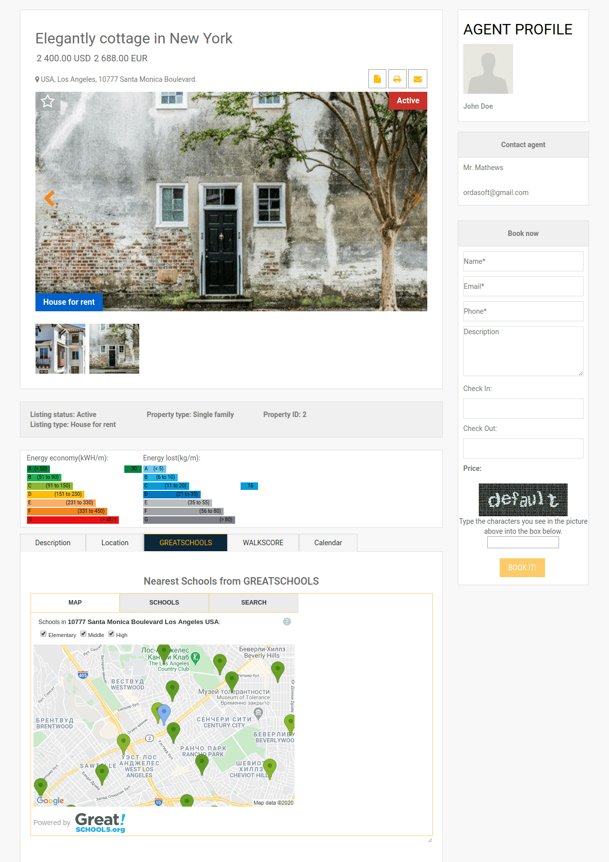 demonstrate single property with agent contact information in real estate website template