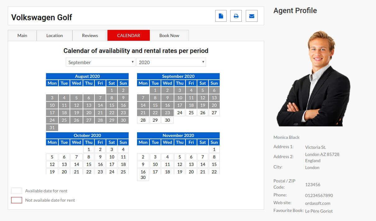 Auto Dealership, car dealer template, information about car