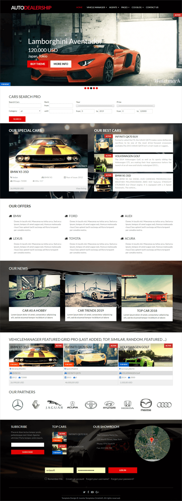 Auto Dealership, Car Joomla Template, full screen