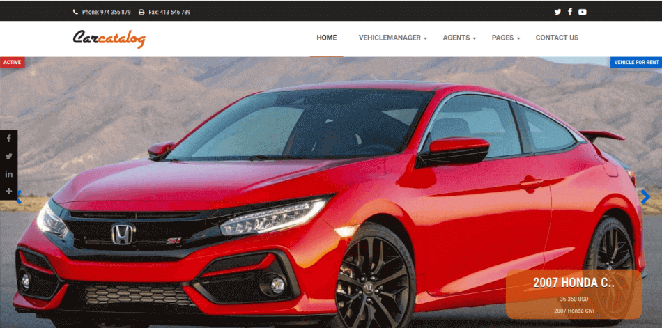 Slideshow of Car Catalog car dealership website template