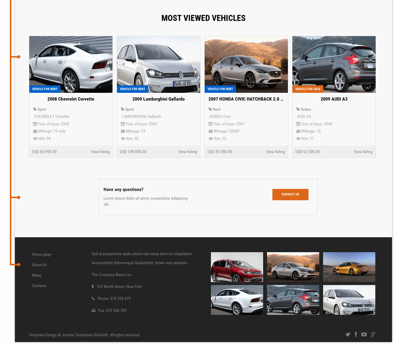 Most viewed vehicles and footer of Car Catalog auto dealer website template