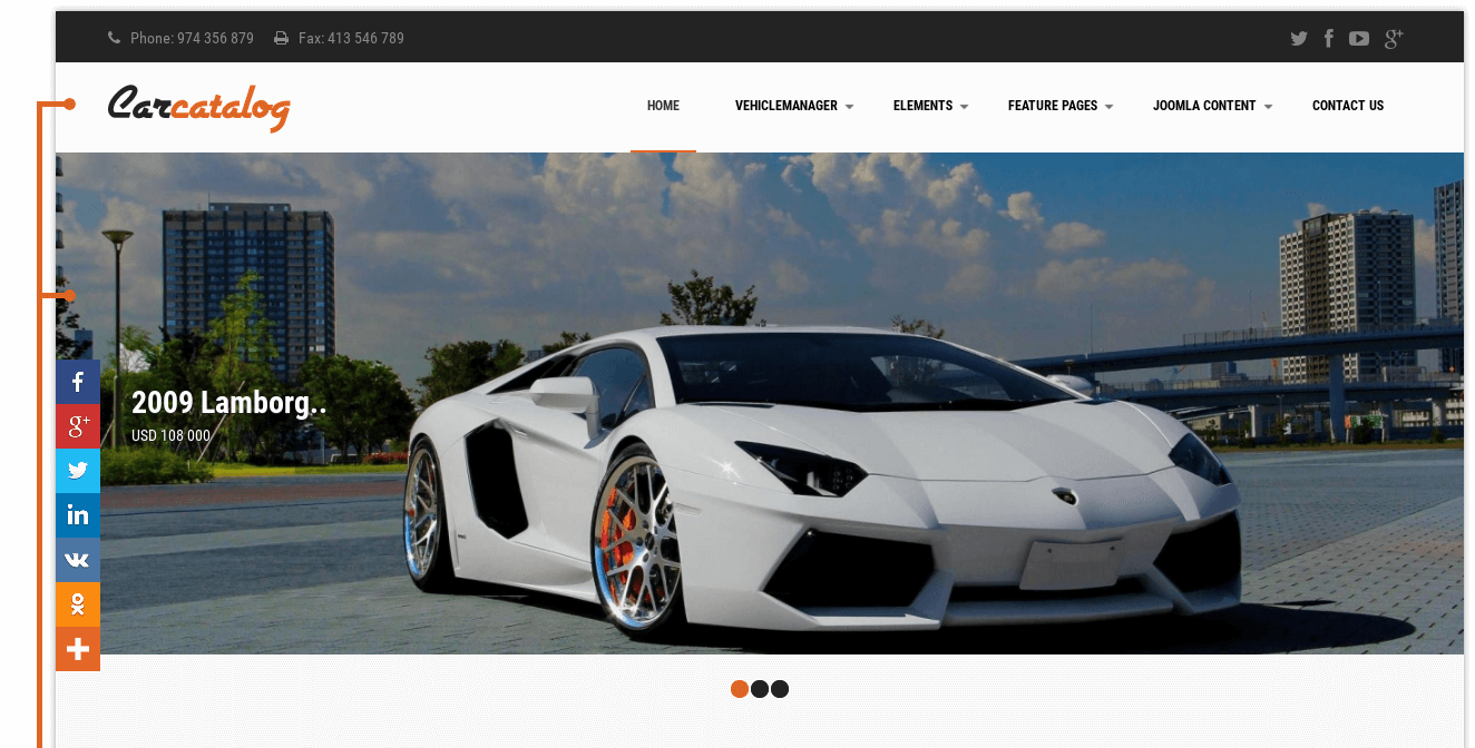 slideshow of car catalog car dealership website template
