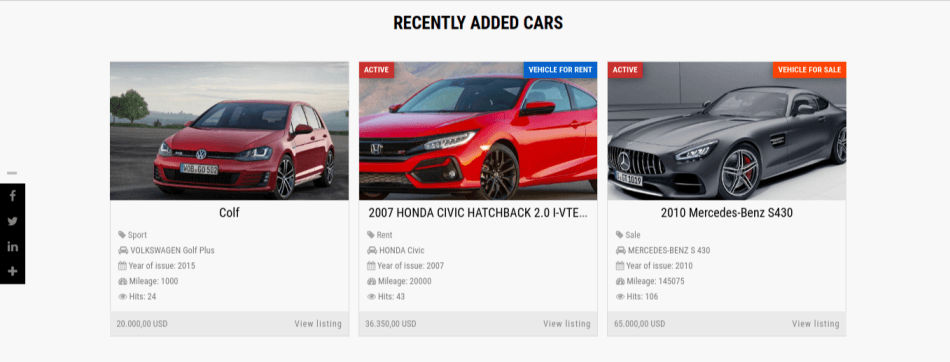 Recently added cars and Google map of Car Catalog automotive website template