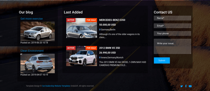 car weblog showroom template