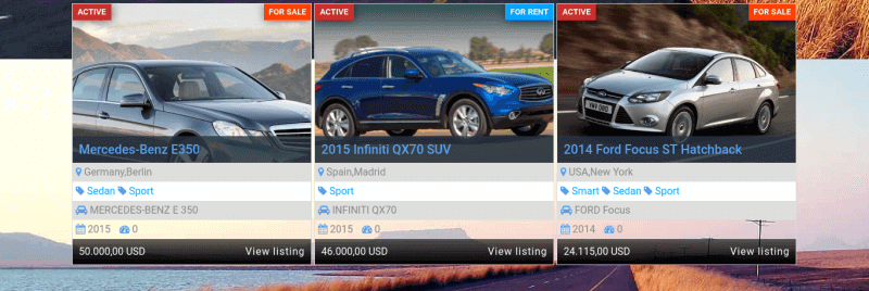 category best sales, car showroom web template