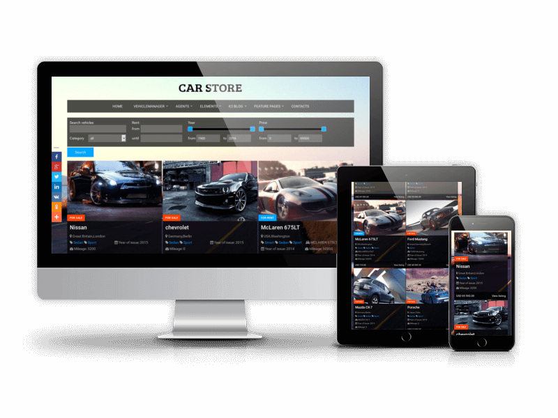 vehicle template for sell car website and rental car website