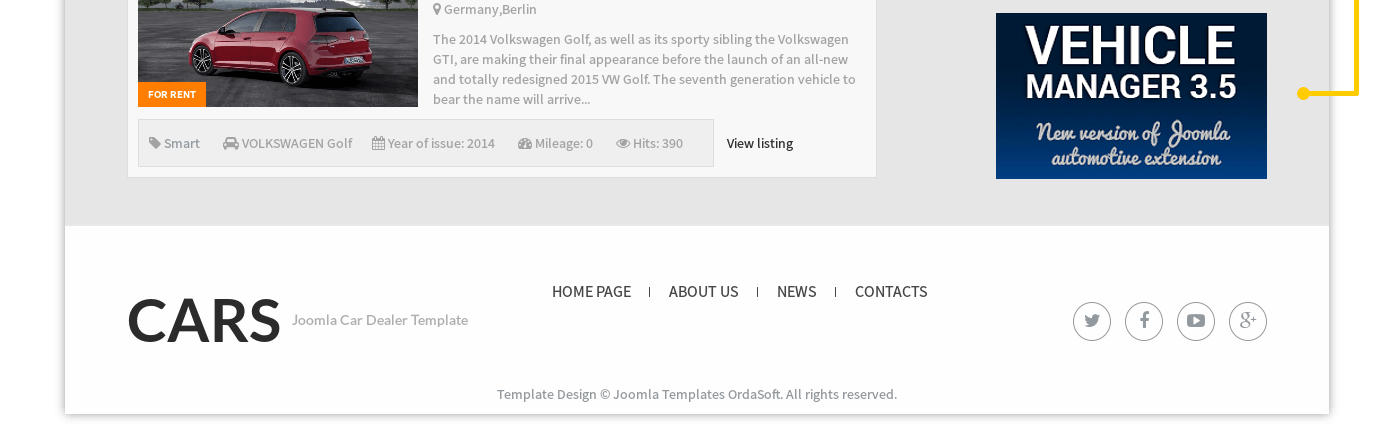 Free car dealership Joomla template Cars