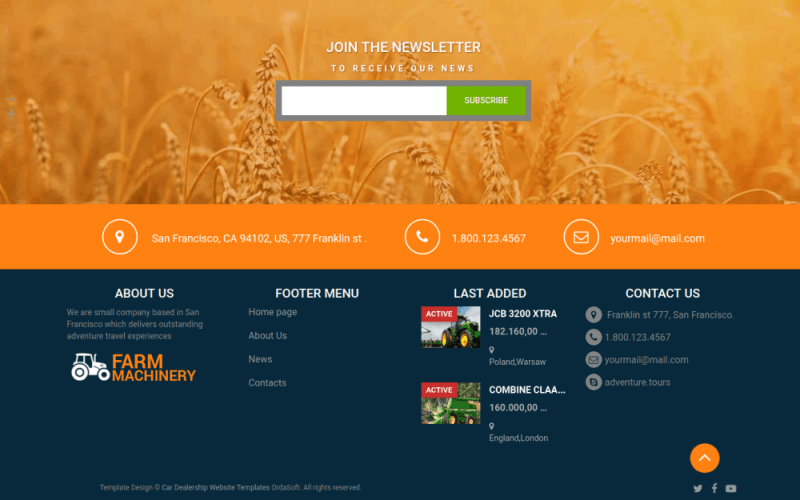footer menu in template for agriculture