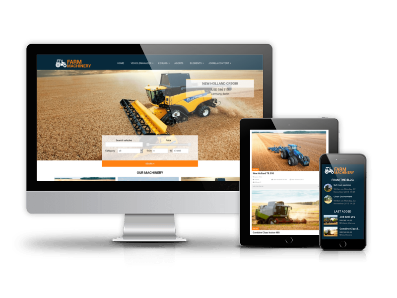 Joomla agriculture website template Farm Machinery