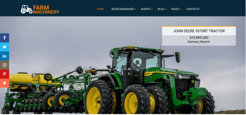 Farm Machinery - agriculture website template, slider carousel on main page