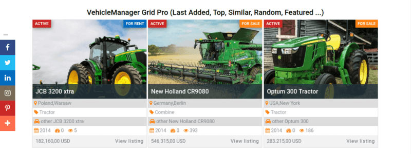 top sales section, farm website template