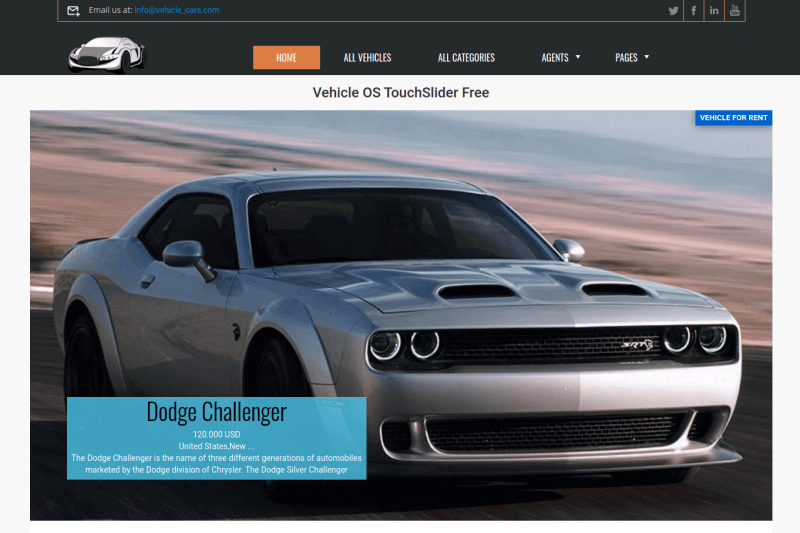 car slider, free car website template