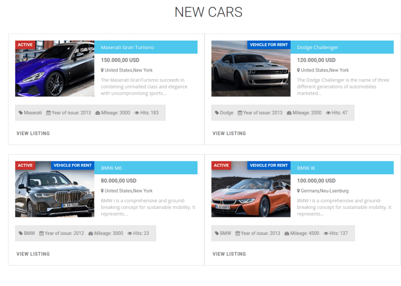 free car site template, section new cars