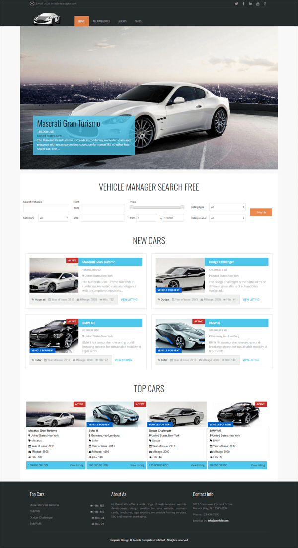 Free Joomla car rental template Cars, full screen