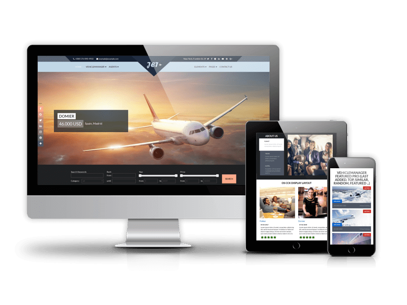 Jet Charter Flights, airline website template