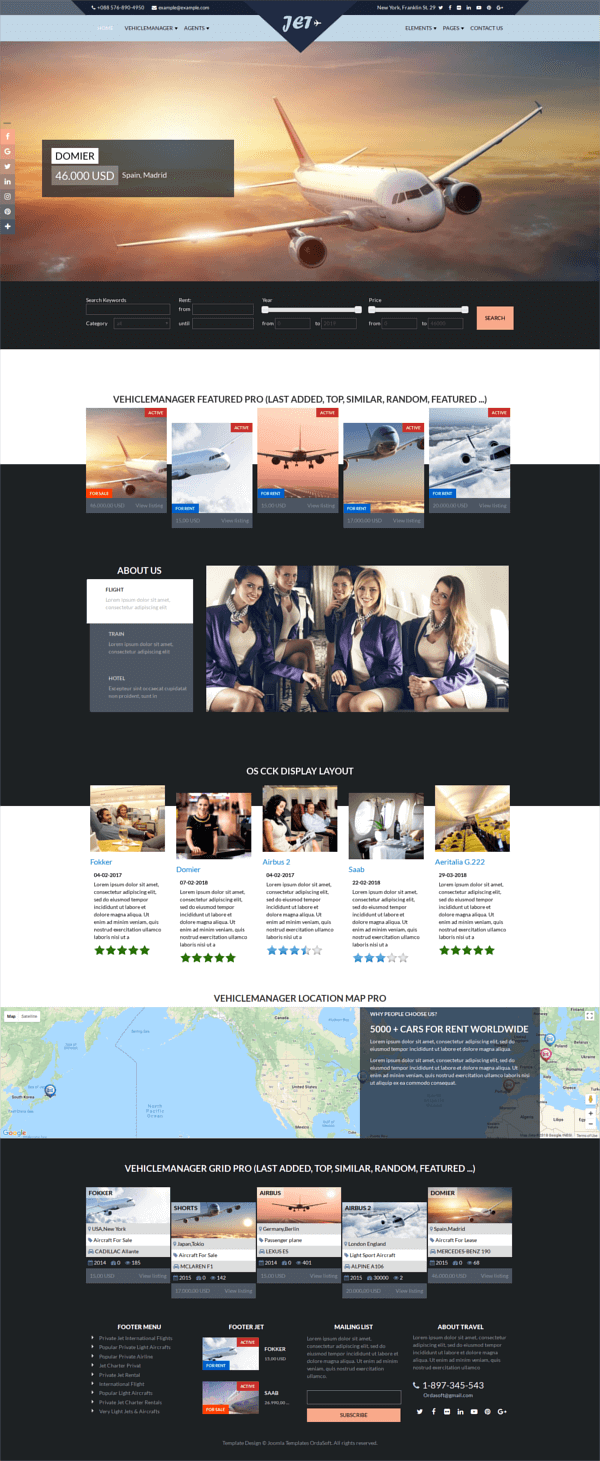 Jet Charter Flights - Joomla template, full screen