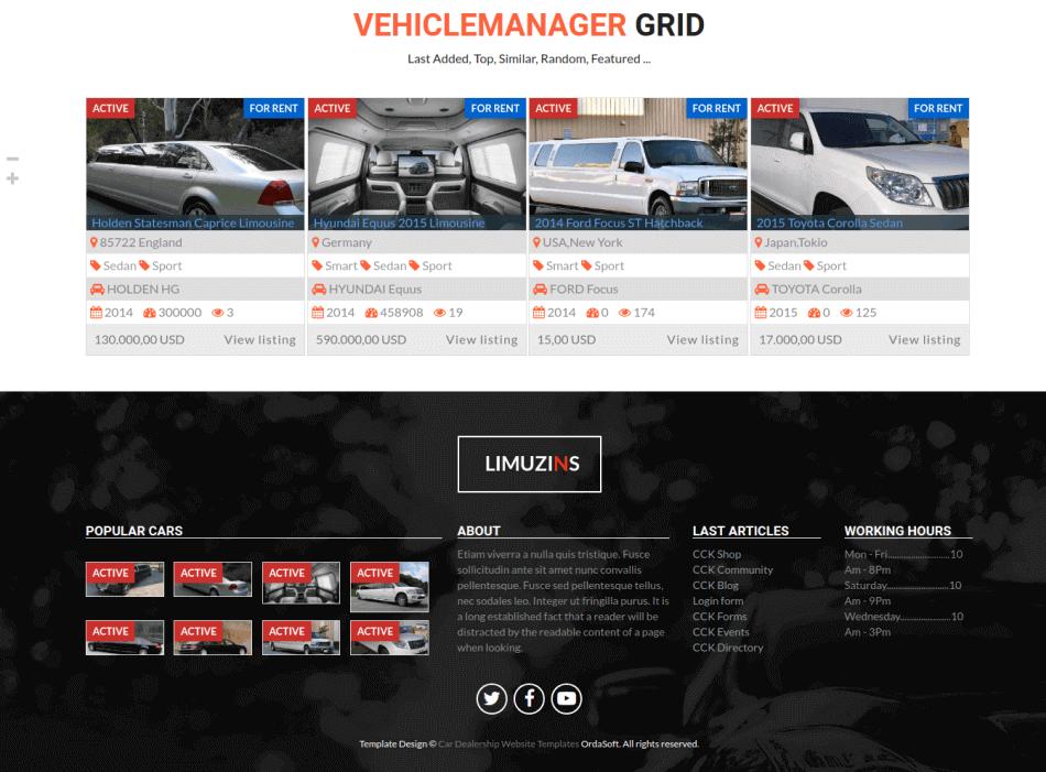 footer menu limo car rental template