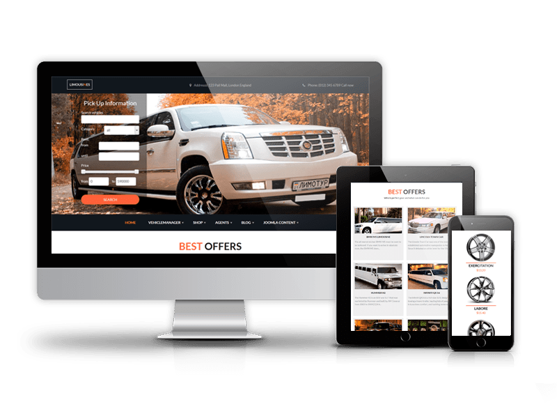 luxury car rental limo website template