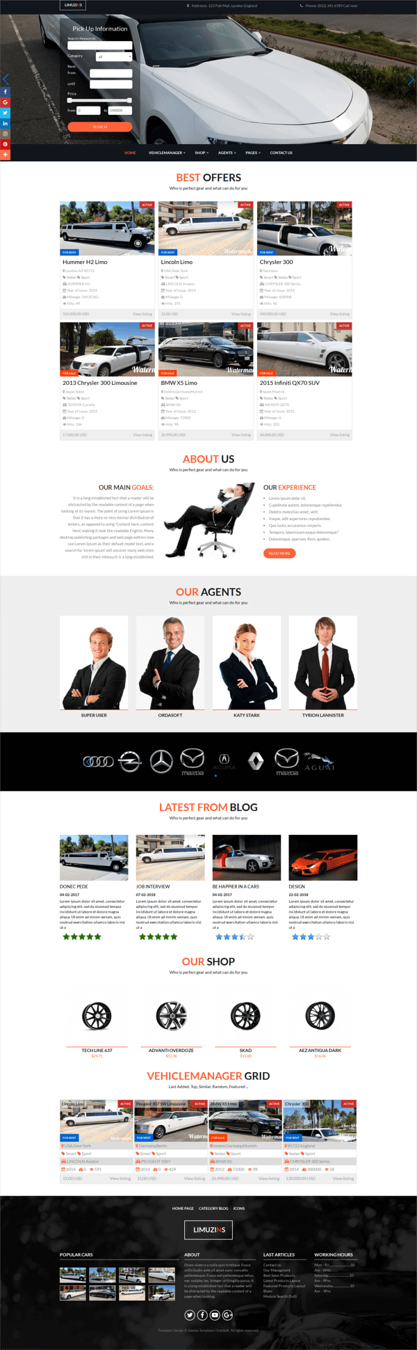 Luxury car rental, limousine website template