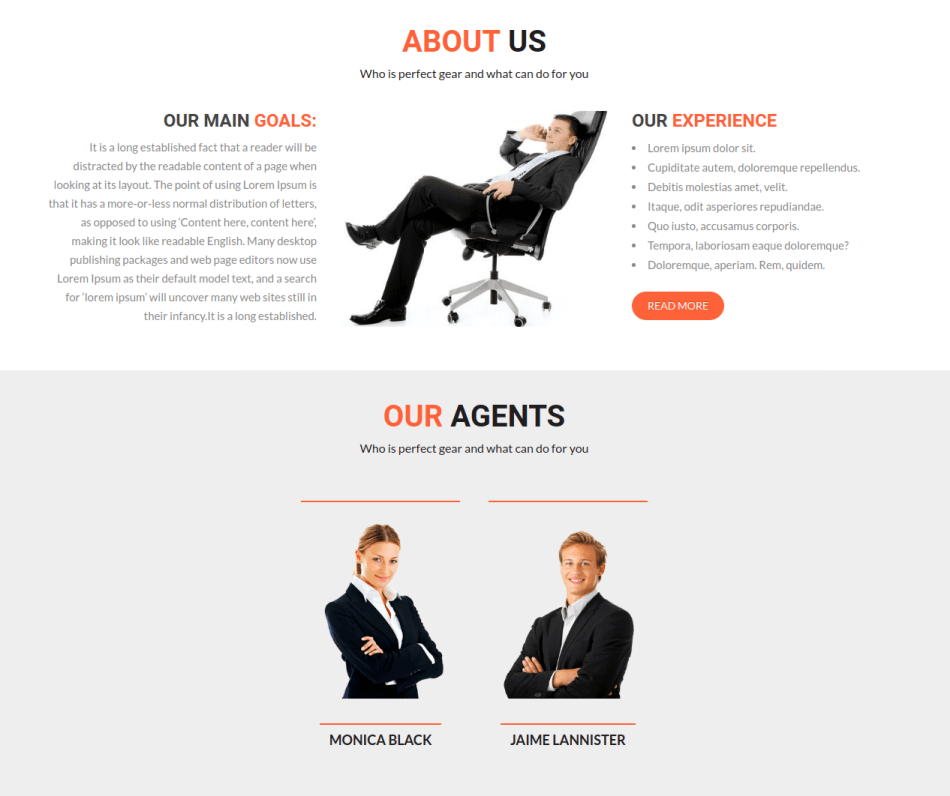 limo website design, about us section