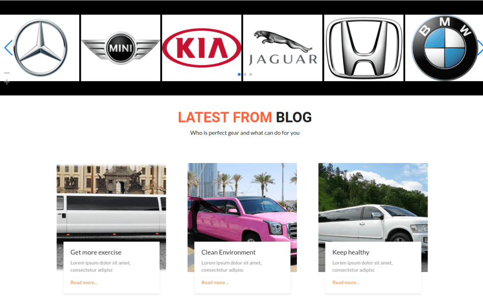luxury car rental website template, template section blog