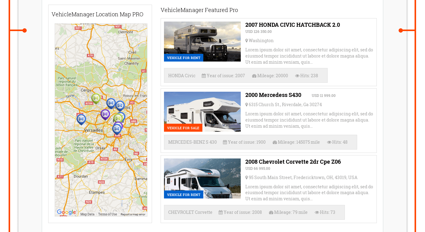 Responsive website template Motorhomes