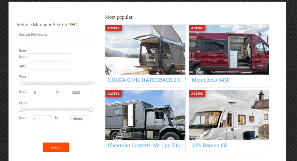 most popular campers with search filter in web template