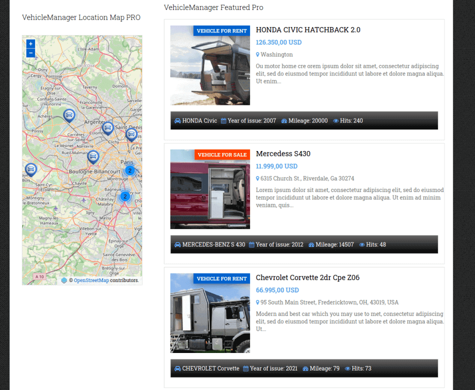 top sales and location map sections, rv template motorhomes