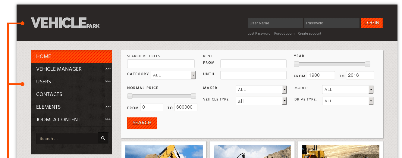 Vehicle Park Car Rental Website Template - Information website template