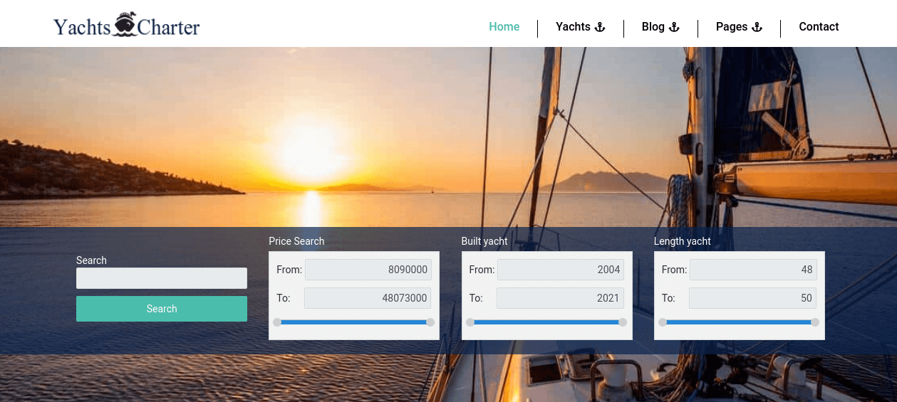 Yacht Website Template search