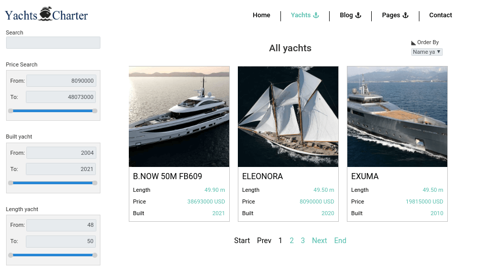 Yacht Website Template products