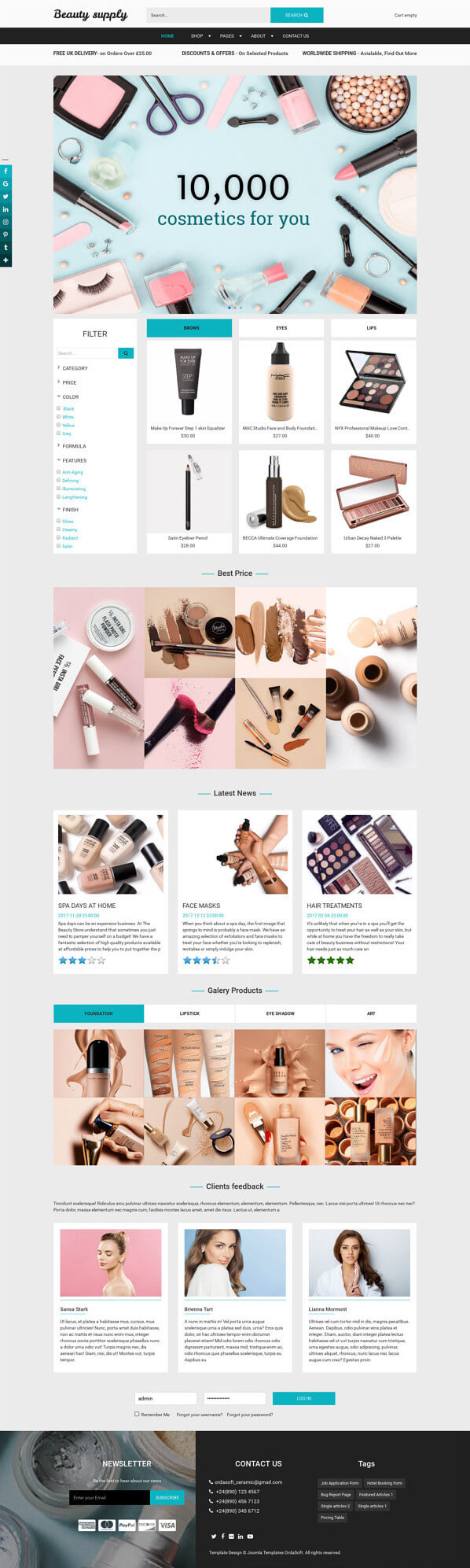 Beauty Supply - Joomla eCommerce template, for create online beauty store website
