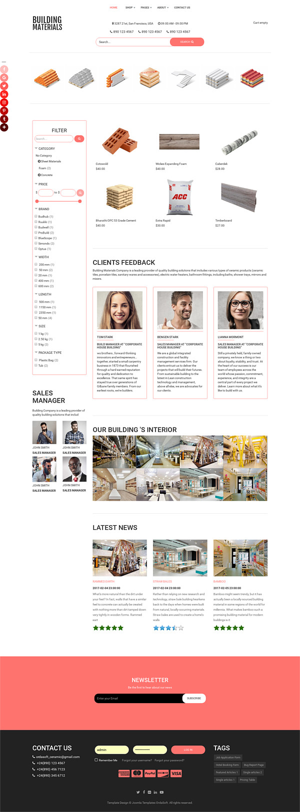 Building Materials - Joomla Construction Materials template , full screen