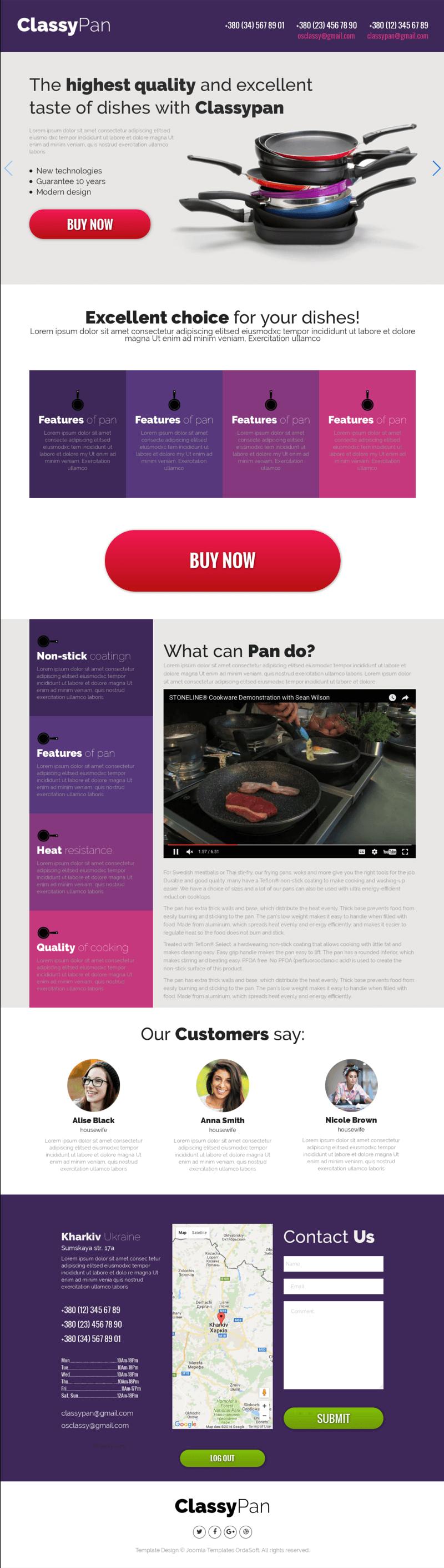 Classy Pan Joomla Landing Page Template - Joomla landing page template