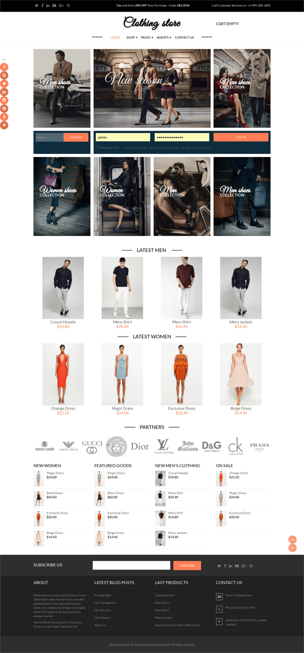 Clothing Store - Joomla Virtuemart template, full screen